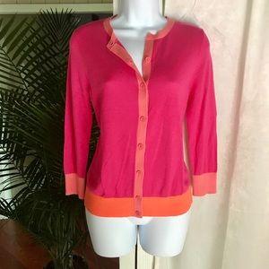 NWT SMALL LOFT cardigan. Pink and orange